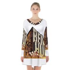 Ben Hur Long Sleeve Velvet V-neck Dress