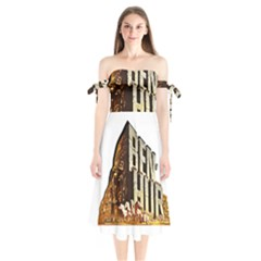 Ben Hur Shoulder Tie Bardot Midi Dress