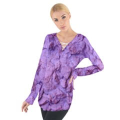 Purple Wall Background Women s Tie Up Tee