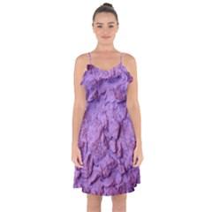 Purple Wall Background Ruffle Detail Chiffon Dress