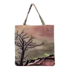 Fantasy Landscape Illustration Grocery Tote Bag