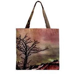 Fantasy Landscape Illustration Zipper Grocery Tote Bag