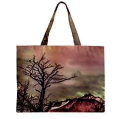 Fantasy Landscape Illustration Zipper Mini Tote Bag