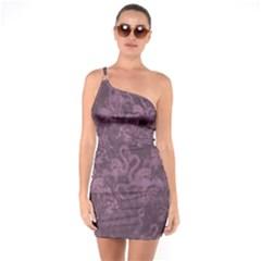Flamingo Pattern One Soulder Bodycon Dress