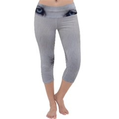 Akita Inu White Eyes Capri Yoga Leggings