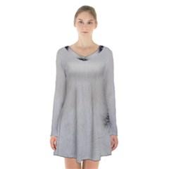 Akita Inu White Eyes Long Sleeve Velvet V-neck Dress