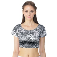 Flamingo pattern Short Sleeve Crop Top (Tight Fit)