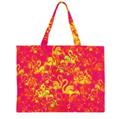 Flamingo Pattern Zipper Large Tote Bag