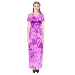 Flamingo pattern Short Sleeve Maxi Dress