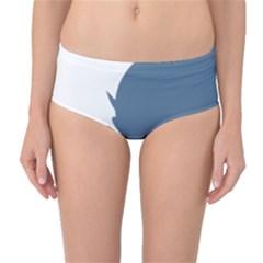 Blue White Hill Mid-Waist Bikini Bottoms
