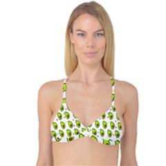 Avocado Seeds Green Fruit Plaid Reversible Tri Bikini Top