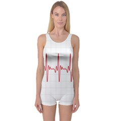 Cardiogram Vary Heart Rate Perform Line Red Plaid Wave Waves Chevron One Piece Boyleg Swimsuit