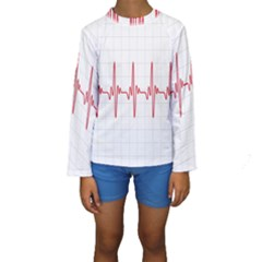 Cardiogram Vary Heart Rate Perform Line Red Plaid Wave Waves Chevron Kids  Long Sleeve Swimwear