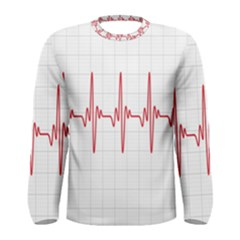 Cardiogram Vary Heart Rate Perform Line Red Plaid Wave Waves Chevron Men s Long Sleeve Tee