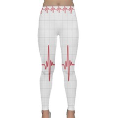 Cardiogram Vary Heart Rate Perform Line Red Plaid Wave Waves Chevron Classic Yoga Leggings