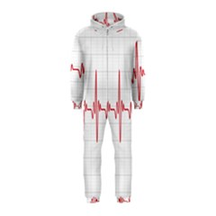 Cardiogram Vary Heart Rate Perform Line Red Plaid Wave Waves Chevron Hooded Jumpsuit (Kids)