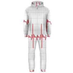 Cardiogram Vary Heart Rate Perform Line Red Plaid Wave Waves Chevron Hooded Jumpsuit (Men)