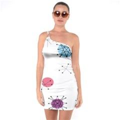 Atomic Starbursts Circle Line Polka One Soulder Bodycon Dress