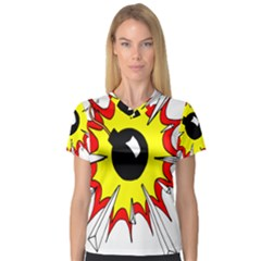 Book Explosion Boom Dinamite Women s V-Neck Sport Mesh Tee