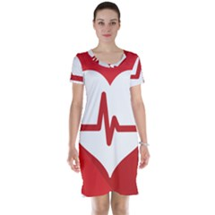 Cardiologist Hypertension Rheumatology Specialists Heart Rate Red Love Short Sleeve Nightdress