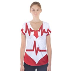 Cardiologist Hypertension Rheumatology Specialists Heart Rate Red Love Short Sleeve Front Detail Top