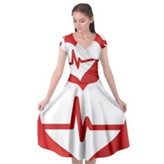 Cardiologist Hypertension Rheumatology Specialists Heart Rate Red Love Cap Sleeve Wrap Front Dress