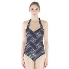 Closeup Purple Line Halter Swimsuit