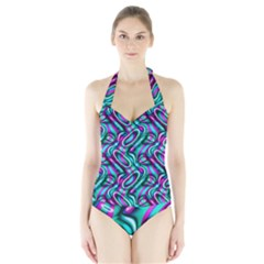 Circle Purple Green Wave Chevron Waves Halter Swimsuit