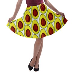 Avocados Seeds Yellow Brown Greeen A-line Skater Skirt