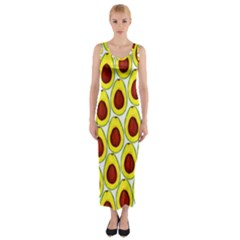 Avocados Seeds Yellow Brown Greeen Fitted Maxi Dress