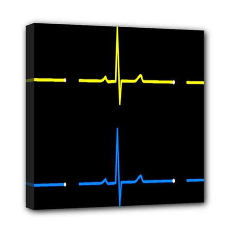 Heart Monitor Screens Pulse Trace Motion Black Blue Yellow Waves Mini Canvas 8  x 8