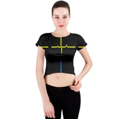 Heart Monitor Screens Pulse Trace Motion Black Blue Yellow Waves Crew Neck Crop Top
