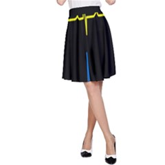 Heart Monitor Screens Pulse Trace Motion Black Blue Yellow Waves A-Line Skirt