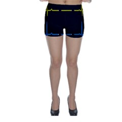 Heart Monitor Screens Pulse Trace Motion Black Blue Yellow Waves Skinny Shorts