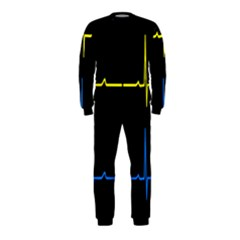 Heart Monitor Screens Pulse Trace Motion Black Blue Yellow Waves OnePiece Jumpsuit (Kids)