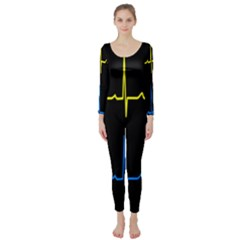 Heart Monitor Screens Pulse Trace Motion Black Blue Yellow Waves Long Sleeve Catsuit