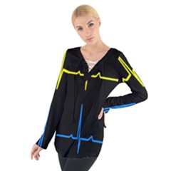 Heart Monitor Screens Pulse Trace Motion Black Blue Yellow Waves Women s Tie Up Tee