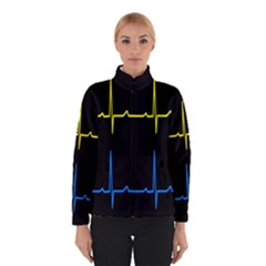 Heart Monitor Screens Pulse Trace Motion Black Blue Yellow Waves Winterwear