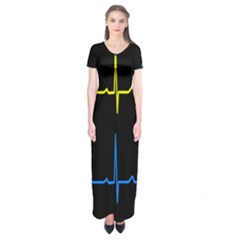 Heart Monitor Screens Pulse Trace Motion Black Blue Yellow Waves Short Sleeve Maxi Dress
