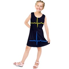 Heart Monitor Screens Pulse Trace Motion Black Blue Yellow Waves Kids  Tunic Dress