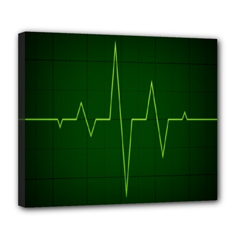 Heart Rate Green Line Light Healty Deluxe Canvas 24  x 20