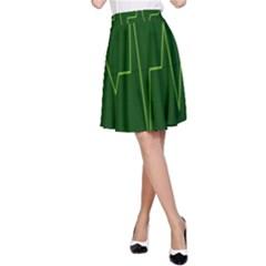Heart Rate Green Line Light Healty A-Line Skirt