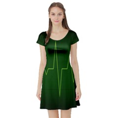 Heart Rate Green Line Light Healty Short Sleeve Skater Dress