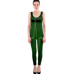 Heart Rate Green Line Light Healty OnePiece Catsuit