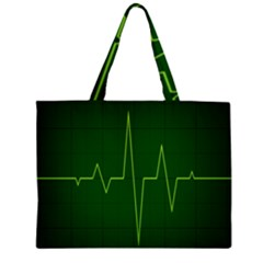 Heart Rate Green Line Light Healty Large Tote Bag
