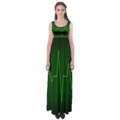 Heart Rate Green Line Light Healty Empire Waist Maxi Dress