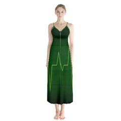Heart Rate Green Line Light Healty Chiffon Maxi Dress