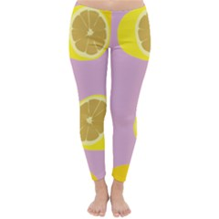 Fruit Lemons Orange Purple Classic Winter Leggings