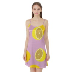 Fruit Lemons Orange Purple Satin Night Slip
