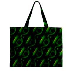 Green Eye Line Triangle Poljka Zipper Mini Tote Bag